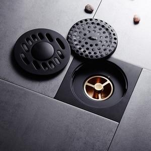 Image 4 - シャワー排水平方風呂ストレーナー髪アンティークブラスブラック浴室床ドレングリッド廃格子洗濯機の排水カバー