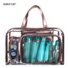 KOKO CAT Female Transparent Handbags Set Summer Beach Bags for Women Composite Travel Cosmetics Organizer Tote Sac A Main