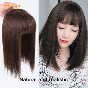 MEIFAN Top Hair Pieces with Bangs Half Head Wig Stright Natural Fluffy Invisible Replacement Synthetic Fake Hair Pieces