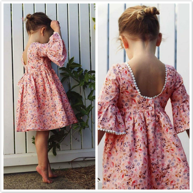 3T-6T Cute Floral Kid Girls Dress Princess Party Flare Sleeve Pageant Girl Dresses Printed Flowers Children Girl Dresses