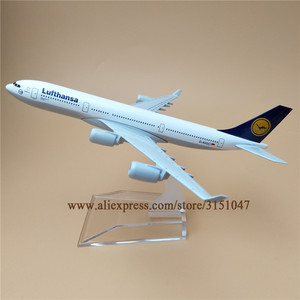 16cm Alloy Metal Germany Air Lufthansa A340 Airlines Airplane Model Lufthansa Airbus 340 Airways Plane Model Aircraft Kids Gifts(China)