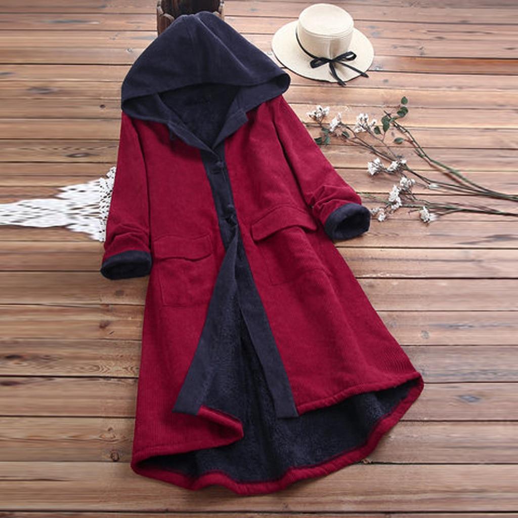2019 Autumn Vintage Women Long Jackets Female Casual Buttons Patchwork Coat Long Sleeve Cardigans Overcoat Outwear Plus Size#3