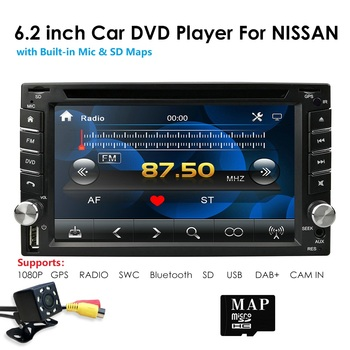 hizpo Car Multimedia Player 6.2 Inch Universal Double 2 Din in Dash Car CD DVD Player GPS Stereo Radio BT USB RDS Free MAP Card image