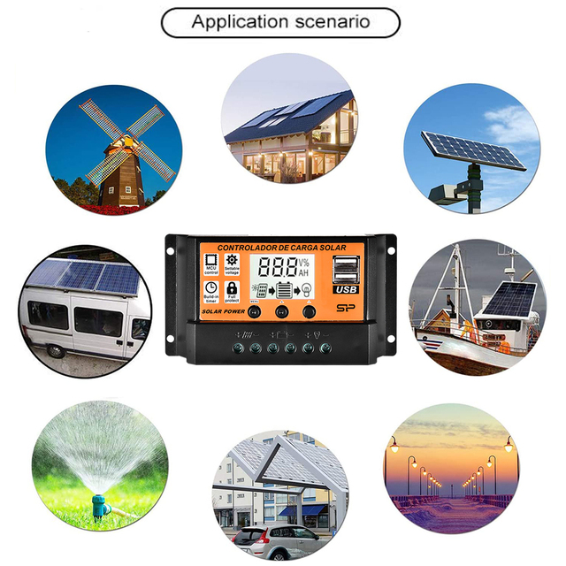 10/20/30/40/50/100A MPPT Solar Charger Controller 12V 24V Solar Panel Battery Regulator Controlador with Dual USB LCD display