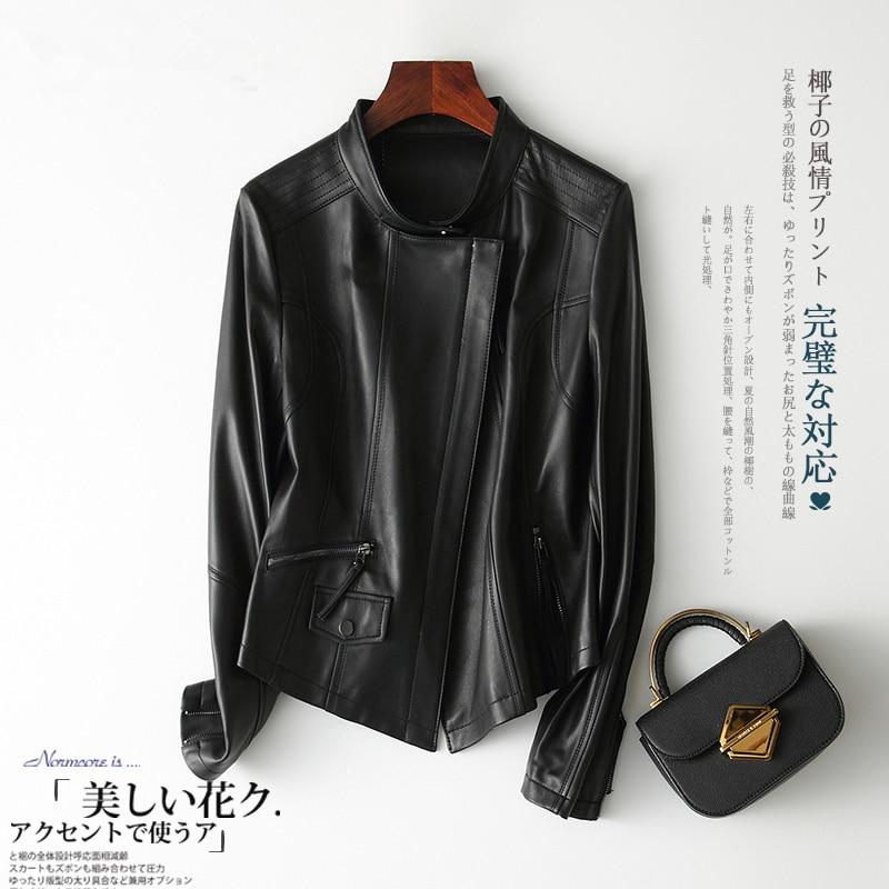 Genuine Leather Jacket For Women Winter Autumn Clothes 2020 Korean Moto Biker Short Sheepskin Coat Ladies Jacket TLR2056.