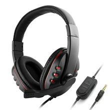 3.5 مللي متر سماعات الألعاب السلكية فوق الأذن لعبة سماعة إلغاء الضوضاء سماعة مع ميكروفون التحكم في مستوى الصوت للكمبيوتر هاتف ذكي