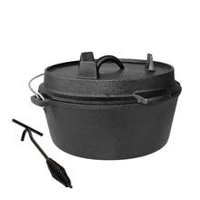 Pot Dutch-Pot Cast-Iron 25cm Barbecue-Pot Soup Multi-Function Picnic Outdoor Uncoated