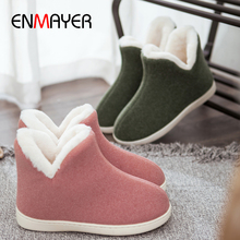 ENMAYER Cheap Home Snow Boots  Worn Outdoors Flock Slip-On Flat with Women Winter Oversized Code Plush 6 colors