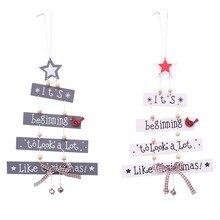 Pendentifs en bois de noël blanc et gris 1 pièce | Décorations artisanales en bois pour enfant, cadeau pour fête de noël