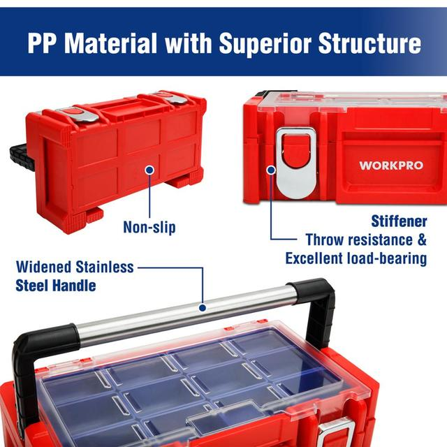 WORKPRO 17-inch Plastic Tool Box 18 Adjustable Compartments Red Storage Box with Locking Lid and Stainless Steel Handle 5