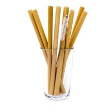 12 шт./компл. многоразовый бамбуковый соломинки экологически чистые питьевые Соломинки+ чистящая щетка вечерние аксессуары для кухонного бара Прямая