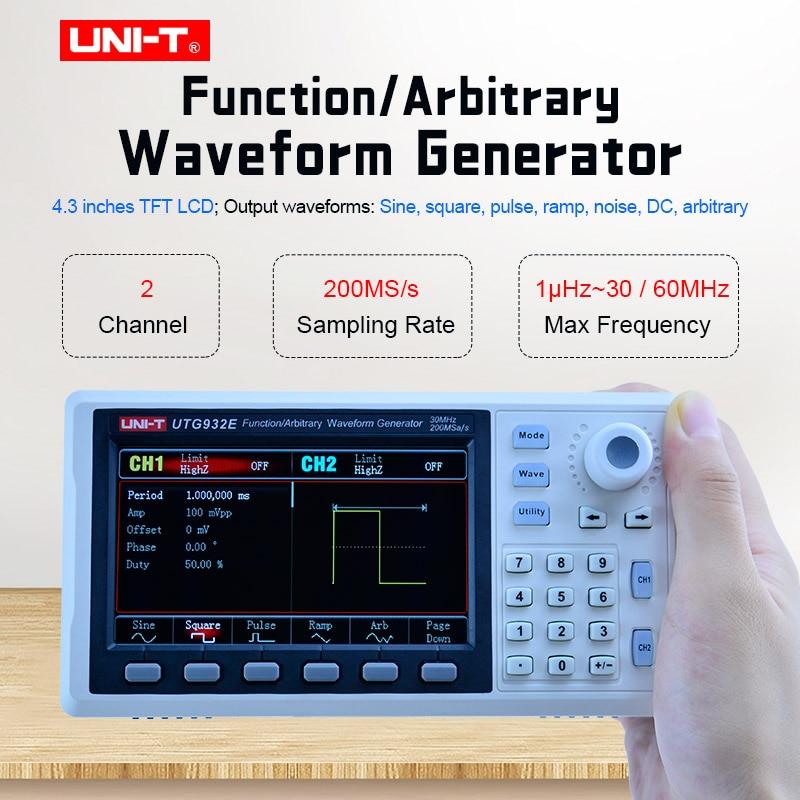 UNI-T UTG932E UTG962E функциональный одноканальный генератор 30 МГц 60 МГц двухканальный синусоидальный генератор произвольной формы