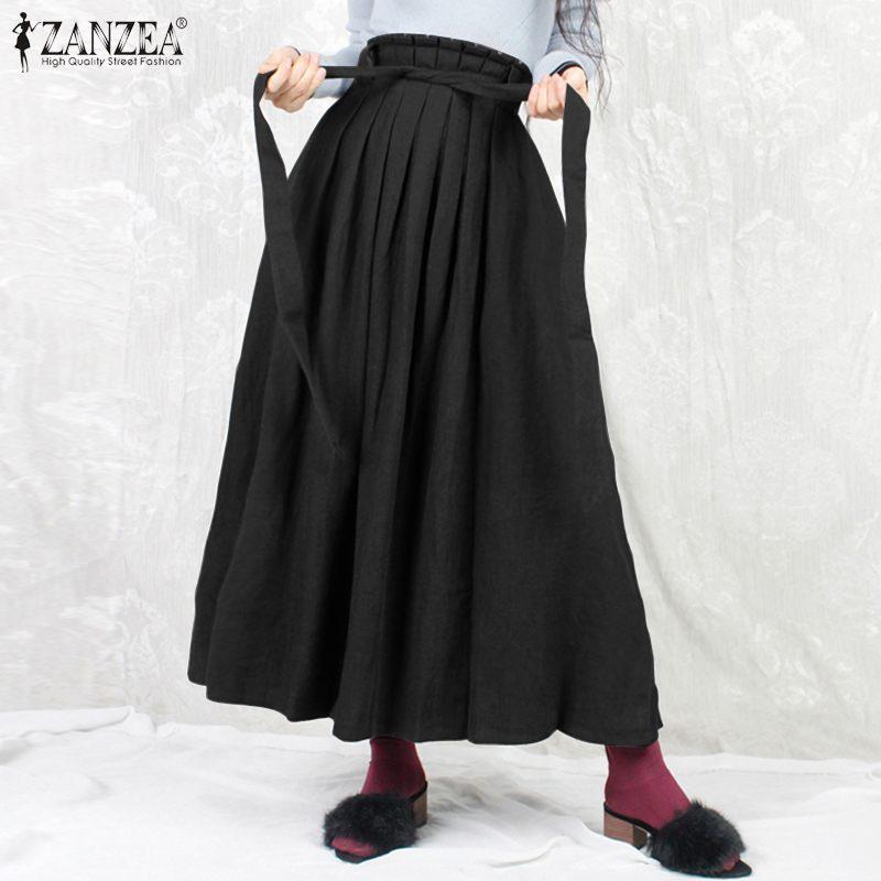 Female High Waist Belted Skirts 2021 Womens Vintage Solid Skirts ZANZEA Fashion Long Maxi Bottom Elegant Pleated Mujer Faldas