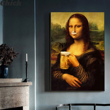 Modular Pictures Poster Painting Beer Canvas Prints Wall-Art Living-Room Home-Decor Mona Lisa