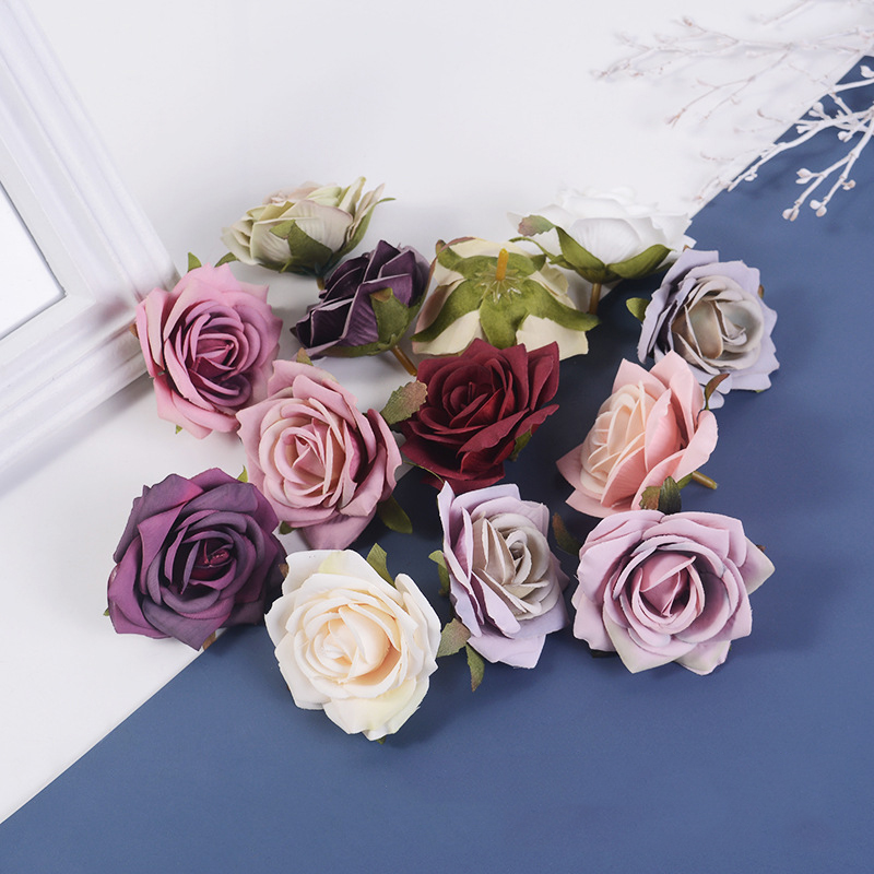 JAROWN Artificial Silk Roses Flowers Scrapbook Wedding Home Decor DIY Gifts Box Christmas Garlands Household Products Fake Flowers (21)