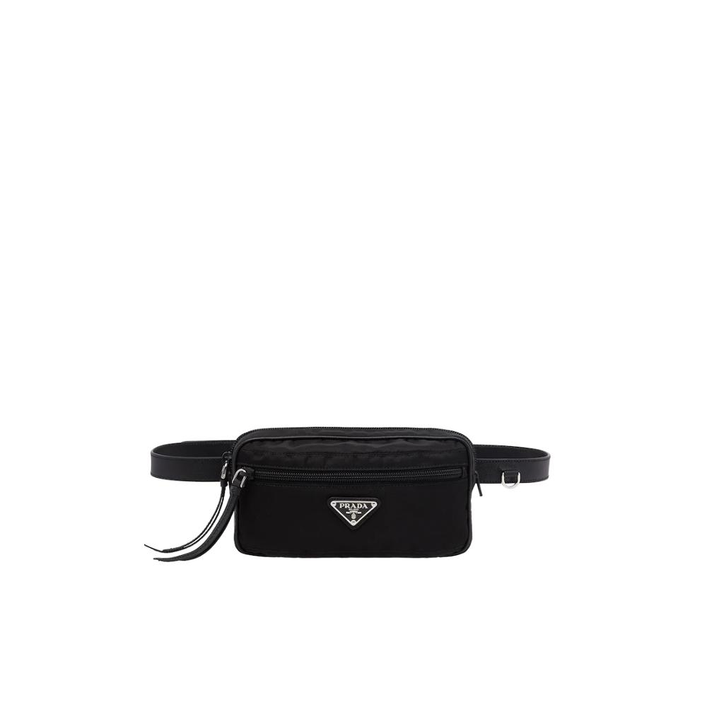 Black Chest Phone Pouch Prada Fabric And Leather Belt Bag Women's Fashion Waist Packs Female1BL012_064_F0002_V_OOO