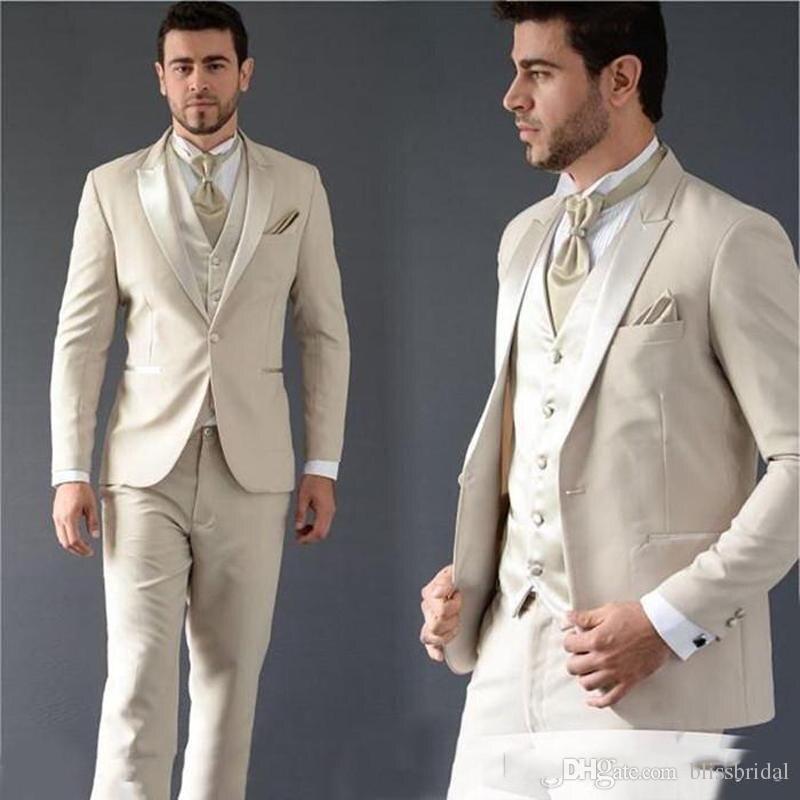 New Arrival  Ivory Men Wedding Suits Slim Fit Bridegroom Tuxedos Cheap Groomsmen Suit Man Prom Suits (jacket+pants+vest)