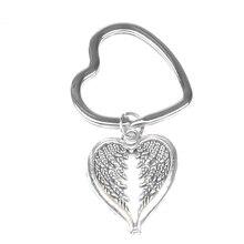 Античный посеребренный Ангел крылья сердце брелок-Шарм Ювелирный автомобиль Подарочный Брелок для ключей парные сумки ювелирные изделия