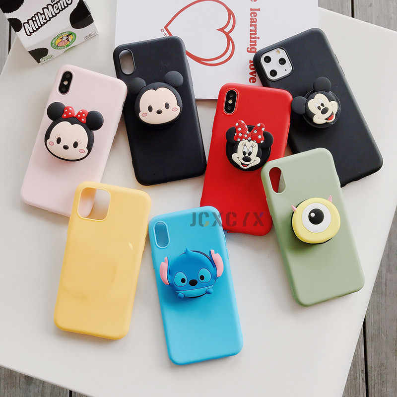3D Cute mouse bear Soft phone case for iphone X XR XS 11 Pro Max 6S 7 8 plus Holder cover for samsung S8 S9 S10 A50 Note 8 9