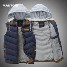 2019 Men Vest Jackets Autumn Winter Warm Waistcoat Casual Hooded Sleeveless Vest Coats Fashion mens thick parkas waistcoats