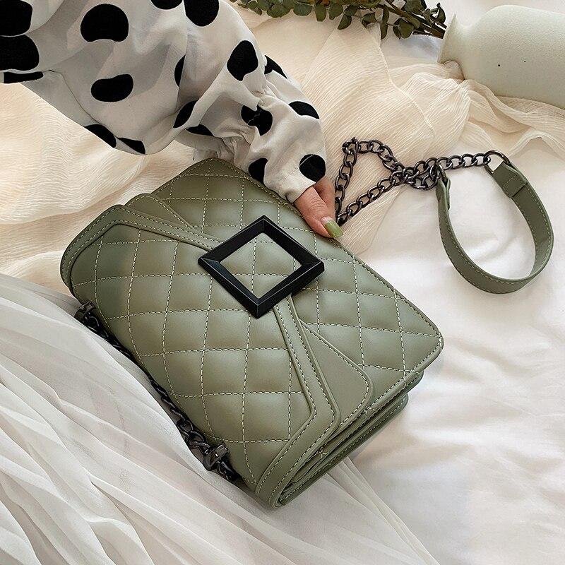 Lattice Square Crossbody Bag 2020 Fashion New High Quality PU Leather Women's Designer Handbag Lock Chain Shoulder Messenger Bag