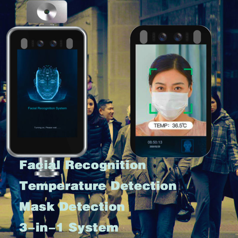 Facial Recognition & Temperature Detection & Mask Detection 3-in-1 System Non-contact Body Temperature Detection Voice Alarm