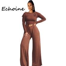 Echoine Autumn Fahion Two Pieces Set Bib Pants Solid Coffee Color Suit Long Sleeve Top + Wide Women Piece Outfits