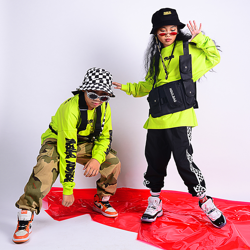 Children'S Hip Hop Street Dance Costume For Girls Boys Fluorescent Tops Camouflage Pants Jazz Performance Stage Outfit DQS2692