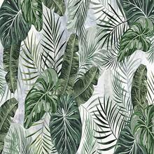 Niestandardowe zdjęcie 3D Mural tapety liście tropikalnej rośliny dekoracyjne obrazy na ścianę sypialnia TV do salonu tło freski naścienne tanie tanio CN (pochodzenie) Usd Rolka Z włókien drzewnych tapety Słomy Nowoczesne Tekstylne tapety Włókniny Pościel pokoju Badania