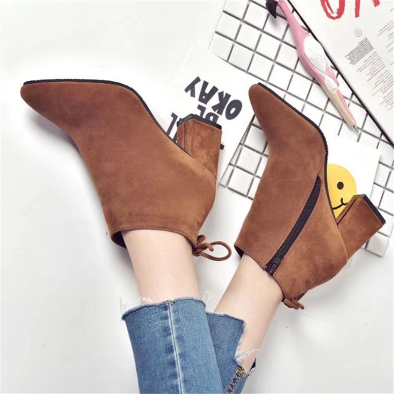 Pointed Toe High Heels Women Boots Basic Shoes Autumn And Winter Casual Female Ankle Boots Single Fashion snow boots 5