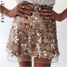 FANTOYE Gold Sequin Mini Skirts Women High Waist Shiny Polka Dot Mesh Skirts Female Fashin Hot Short Party Night Clubwear Skirts cutout waist gold polka dot velvet top