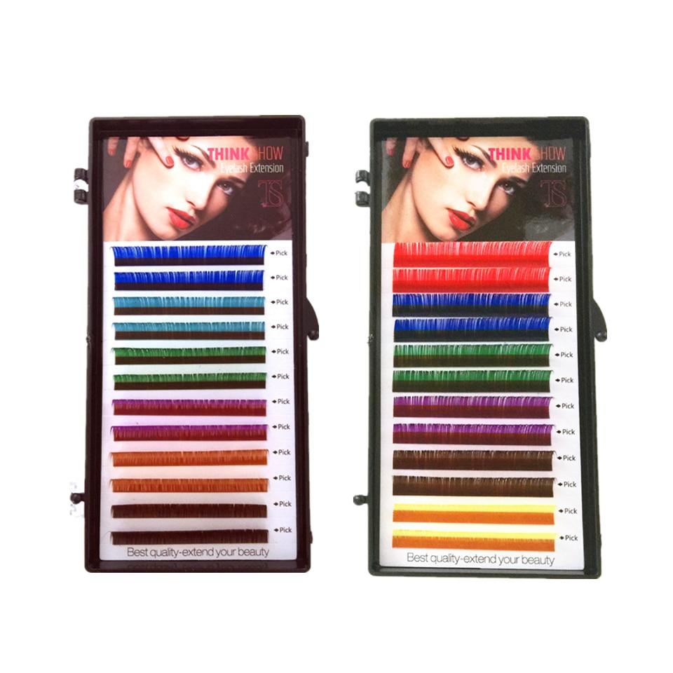 12rows Colored Eyelash Extension,Faux Mink Color Eyelashes,colorful Eyelash Extension Cilia,Rainbow Color False Eyelashes 1piece