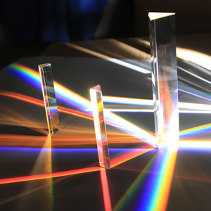 Triangular Prism 14 * 14 * 87mm Rainbow Glass Photographic Prisms Teaching Optical Experiment Photography Light Gift