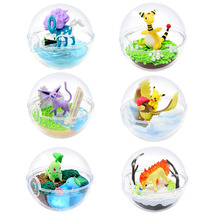 TAKARA TOMY New 6box/set Transparent Ball Pikachu Chikorita Articuno Eevee Pokemon Action Figure Toys Cute Decoration for Kids