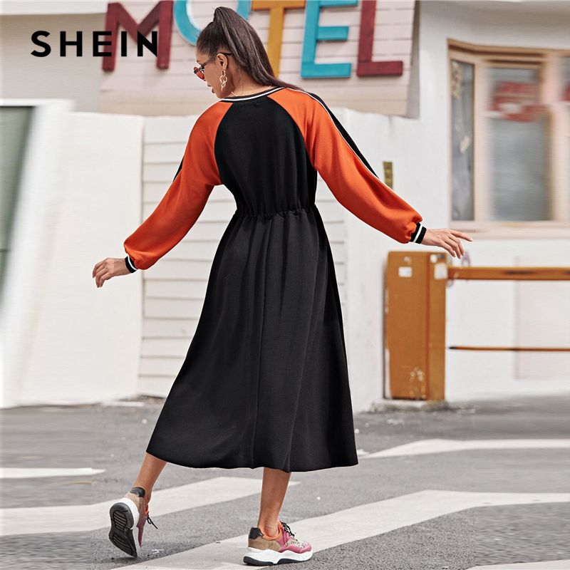 SHEIN Striped Neck Colorblock Drawstring Waist Textured Knit Dress Women Spring Long Sleeve Sporting Casual Long Dresses 2