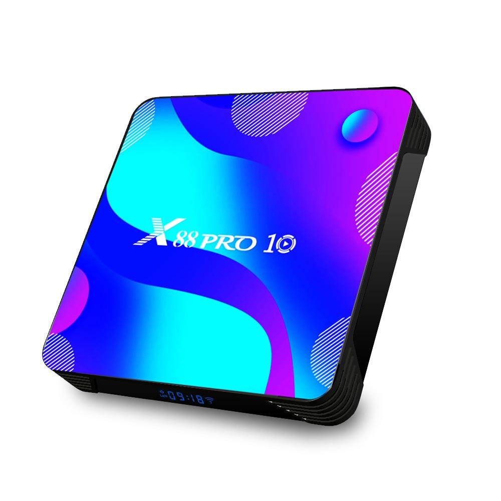 Приставка Смарт-ТВ X88 PRO 10, Android 10,0, 4K, медиаплеер, двойной Wi-Fi, четырехъядерный процессор RK3318