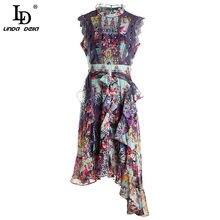 Ld linda della designer o-pescoço plissado boho vestido feminino elegante sem mangas renda fina gilding impressão verão feminino midi vestidos