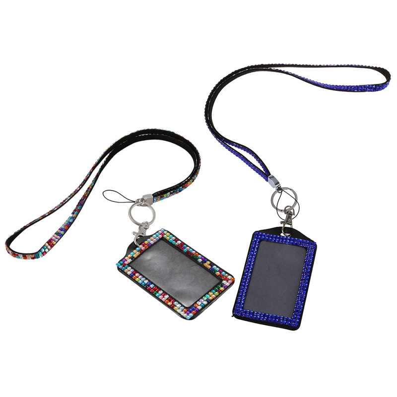 2pcs Rhinestone Bling Crystal Custom Lanyard Vertical ID Badge Holder - Dark Blue & Colorful