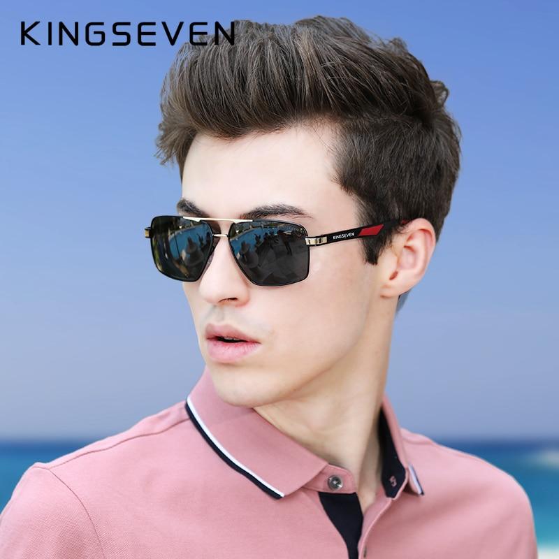 KINGSEVEN Aluminum Men's Sunglasse Polarized Lens Brand Red Design Temples Sun glasses Coating Mirror Glasses Oculos de sol 7719 3