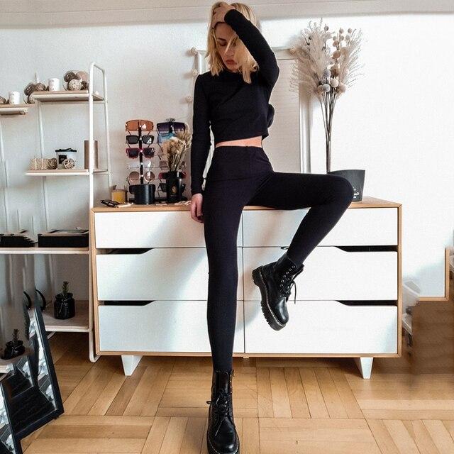 GCAROL 2021 Women'sets 2 Pcs 95% Cotton Sexy Crop T-shirt Hip Lift Yogo Legging Stretch Fitness Breath Tees Full Length Pants 2