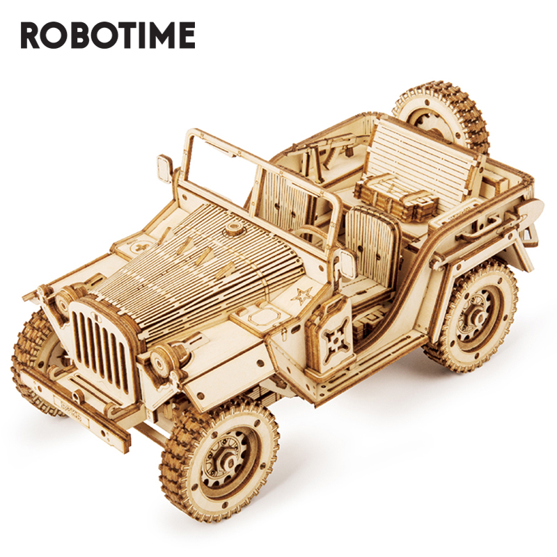 Robotime ROKR 3D Wooden Puzzle Toy Jeep Car Model Toys For Children Kids Birthday Gift MC701