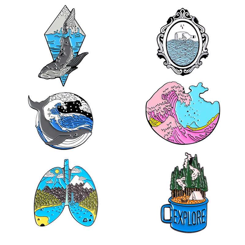 6 Gaya Enamel Pin Abu-abu Whale Bumi Paru-paru Hutan Jelajahi Lencana Bros Merah Muda Gelombang Cermin Kemeja Tas Lapel Pin Perhiasan wanita Hadiah