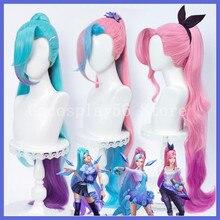 3 cores seraphine peruca lol cosplay novo kda gradual rosa roxo azul longo encaracolado cabelo sintético feminino os olhos estrelados songstress