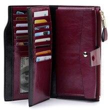 Moda uzun kadın deri cüzdan bayan cüzdan ForCell telefonu hakiki deri çanta kadın bozuk para cüzdanı Carteira Feminina