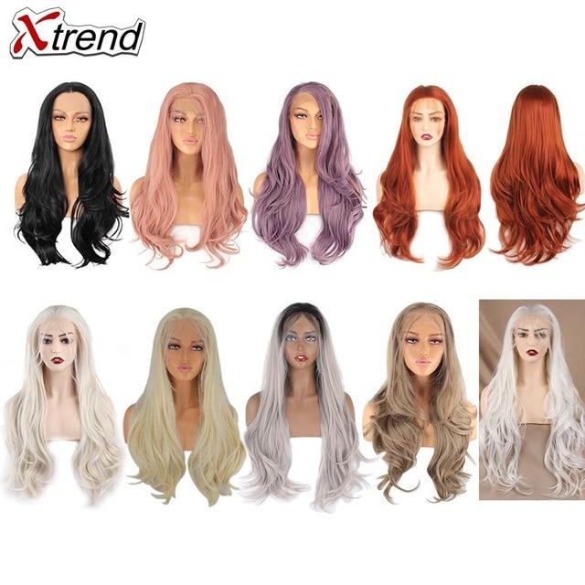 Xtrend syntetyczna koronka peruka front długie różowe miedzi czerwony fioletowy pomarańczowy Ombre szary blond białe peruki dla czarnych kobiet fala do włosów kobiet