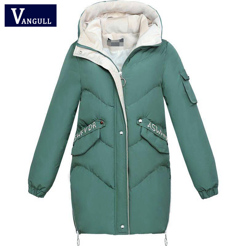 Vangull 2019 Women Winter Hooded Warm Coat Plus Size Green Cotton Padded Jacket Female Long Parka Womens Wadded Jaqueta Feminina