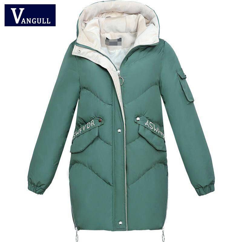 Vangull 2019 Frauen Winter Mit Kapuze Warme Mantel Plus Größe Grün Baumwolle Gefütterte Jacke Weibliche Lange Parka Damen Wadded Jaqueta Feminina