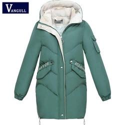 Vangull 2019 Women Winter Hooded Warm Coat Plus Size Green Cotton Padded Jacket Female Long Parka Womens Wadded Jaqueta Feminina 1