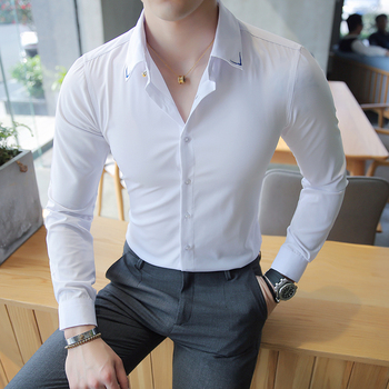 2019 Men Dress Shirt Long Sleeve Slim Fit Brand Men Shirts Embroidery Solid Male Clothing Business Formal Social Shirts Men 4XL