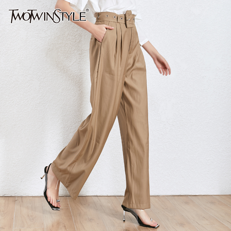 TWOTWINSTYLE Casual Autumn Black Women's Trousers High Waist With Sashes Oversized Wide Leg Pants For Female 2020 Fashion New